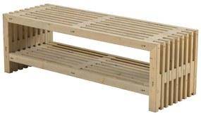 Lattenbank vuren met plank | Rustik Design 138 cm driftwood geverfd
