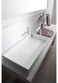 Ideavit Solidjoy opbouw wastafel 75x37.5x11cm rechthoek 0 kraangaten 1 wasbak Solid surface wit 290026