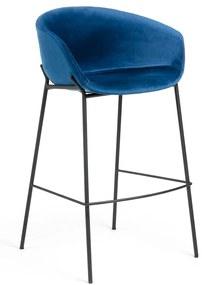 Kave Home Yvette Barkruk Fluweel Blauw