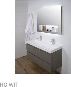 Ink Dock badmeubelset 120cm 2 kraangaten polystone met spiegel geintregreerd planchet hoogglans wit