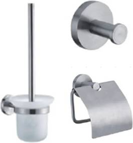 Best Design Ore toiletset met toiletborstelgarnituur closetrolhouder en handdoekhaak RVS 3862750