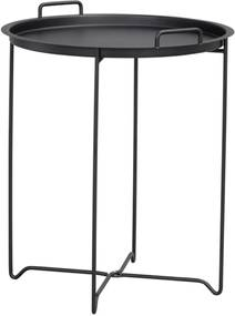 Nordiq Dover sidetable - Metalen bijzettafel - Ø45 x H54 cm- Bijzettafels - Afneembaar tafelblad - Dienblad - Zwart metaal - Scandinavisch design