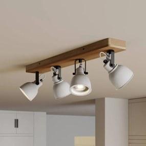Mirka LED plafondlamp, pijnboomhout, 4lamps - lampen-24