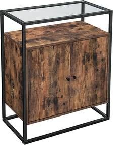 Nancy's Hugo Dressoir - Zijkast - Keukenkast - Industrieel - Gefabriceerd hout - Vintage - Bruin - 70 x 35 x 80 cm