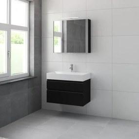 Bruynzeel Roma badmeubelset 80x60.5x46cm met spiegelkast zijde zwart 227637k