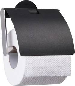 Sealskin Metropolitan toiletrolhouder 12.8x8.7x12.3cm vrijstaand rond stainless steel Zwart 361941819