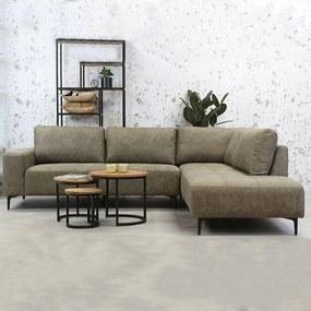 Dimehouse | Hoekbank Deston rechts 3-zits zithoogte 43 cmzitdiepte 53 cmhoogte 84 cmdikte taupe zitbanken mohawk stof meubels | NADUVI outlet