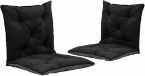 Schommelstoelkussens 2 st 50 cm stof zwart en grijs