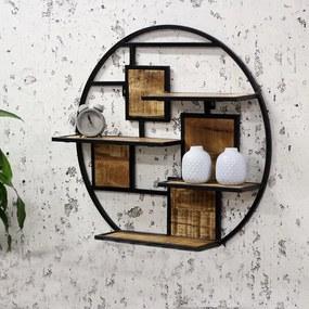 Dimehouse   Kota Wandrek lengte 16 cm x breedte 80 cm x hoogte 80 cm bruin, zwart wandplanken & -haken hout, metaal decoratie   NADUVI outlet