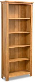 Boekenkast met 5 schappen 60x22,5x140 cm massief eikenhout