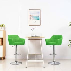 Barstoelen 2 st met armleuning kunstleer groen