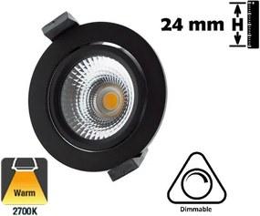 Inbouw STAR LED Spot 5w, 450 Lumen, 2700K, Kantelbaar, IP54, Dimbaar, Zwart Armatuur, Gatmaat 75mm