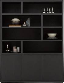 Goossens Buffetkast Barcelona, 3 deuren 8 open vakken, zwart eiken, 158 x 212 x 45 cm, stijlvol landelijk