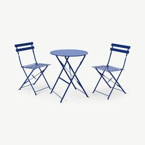 Mariko inklapbare bistroset met 2 stoelen, blauw