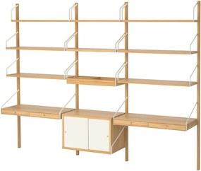 SVALNÄS Wandwerkplekcombinatie 233x35x176 cm bamboe/wit