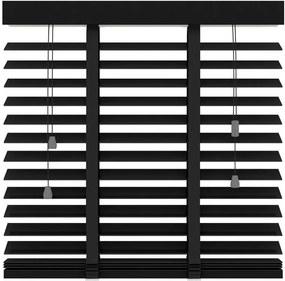 Horizontale jaloezie hout 50 mm - mat zwart - 140x180 cm - Leen Bakker