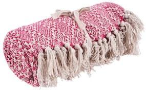 Plaid met franjes - roze/wit - 130x160 cm
