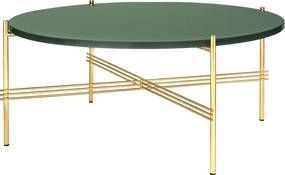 Gubi TS Table Glass salontafel 80cm messing onderstel dusty green