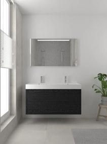 Box badmeubelset 120 cm dubbele waskom | spiegel- zwart eiken