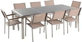 Tuinmeubel - natuurstenen tafel 220 cm grijs gepolijst met 8 beige stoelen - GROSSETO