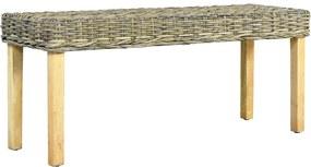 Bankje 110 cm natuurlijk kubu rattan en massief mangohout