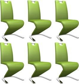 Eetkamerstoelen met zigzag-vorm 6 st kunstleer groen