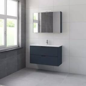 Bruynzeel Karo meubelset met spiegelkast 100cm 1 kraangat oud blauw 227085k