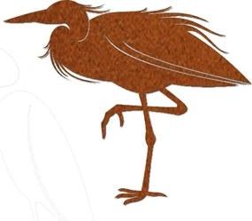 Reiger op een poot in cortenstaal Een bijzonder ornament voor je vijver