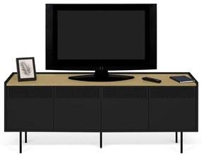 TemaHome Radio Zwart Tv-meubel Met Eiken Blad - 160x43x60cm.
