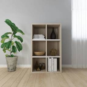 Boekenkast/dressoir 66x30x97,8 cm spaanplaat wit sonoma eiken