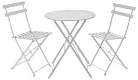 Bistroset tafel + 2 stoelen - wit - ⌀59x70 | 41x44x81 cm