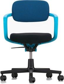 Vitra Allstar bureaustoel harde wielen voor tapijt aquamarine armleuning blauw/veenbruine rugleuning