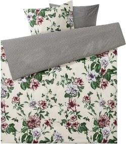 Draaibaar dekbedovertrek 240 x 220 cm Crème/groen/bloemen