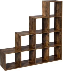 Nancy's Boekenkast - 10 Vakken - Archiefkast - Kast - Kasten - Hout - Bruin - Industrieel - 129,5 x 30,5 cm