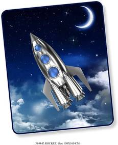 Good Morning plaid Rocket - blauw - 130x160 cm - Leen Bakker
