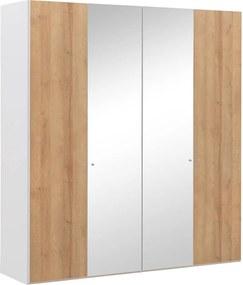 Goossens Kledingkast Easy Storage Ddk, Kledingkast 203 cm breed, 220 cm hoog, 2x draaideur en 2x spiegel draaideur midden