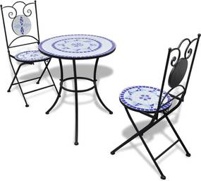 3-delige Bistroset keramische tegel blauw en wit