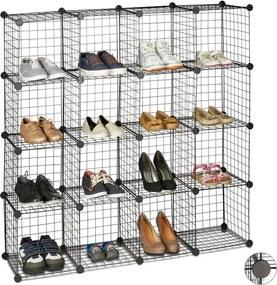 Vakkenkast staaldraad - 16 vakken - DIY - schoenenrek - metaal - zwart - gaas 30 x 30 cm