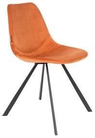 Dutchbone Franky Fluwelen Eetstoel Oranje