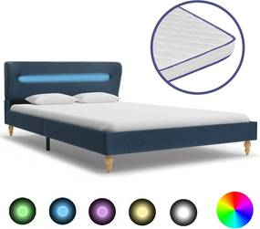 Bed met LED en traagschuim matras stof blauw 120x200 cm