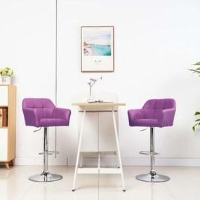 Barstoelen 2 st met armleuning kunstleer paars