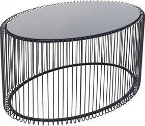 Kare Design Wire Staaldraad Salontafel Ovaal Zwart - 90 X 60cm.
