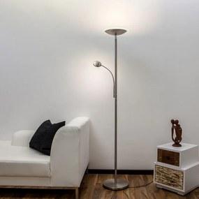 Malea - LED uplighter met leesarm, nikkel - lampen-24