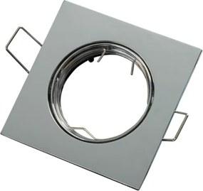 Inbouwspot, Vierkant, Kantelbaar, Aluminium, Chroom Look