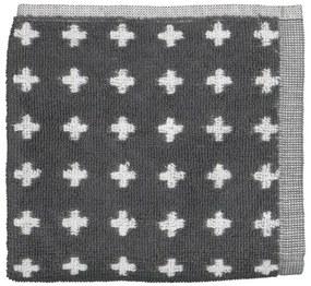 Keukendoek - 50 X 50 - Katoen - Grijs Kruisjes (donkergrijs)