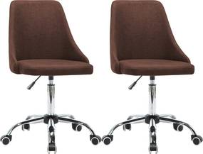 Kantoorstoelen met wieltjes 2 st stof bruin