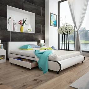 Bedframe met lades kunstleer wit 140x200 cm