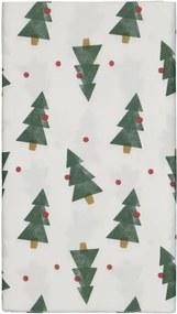 Tafelkleed Papier 138x220 Wit Met Dennenbomen
