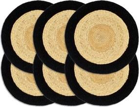 Placemats 6 st 38 cm jute en katoen natuurlijk en zwart