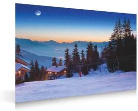 Plastic poster ski resort bij nacht 78x58cm